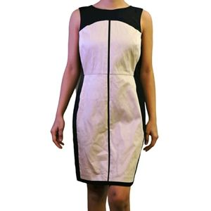 Ann Taylor petite beige black casual midi dress 4P